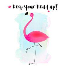 Trendy, vrolijk en motiverend kaartje van een flamingo in waterkleur, verkrijgbaar bij #kaartje2go voor €1,99