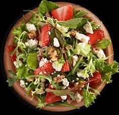 Athenos. Made the Greek Way. Recipes. Strawberry/spinach/walnut/feta salad.  I added real bacon bits.