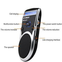 DSD TECH Black Solar Powered LCD Display Bluetooth Car Kit Handsfree Call Device Support PhoneBook and TTS Function * To view further for this item, visit the image link.