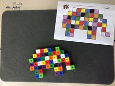 Cuatro actividades matemáticas sobre Elmer, el bromista elefantito de colores. Con multilink (policubos), plantilla descargable.