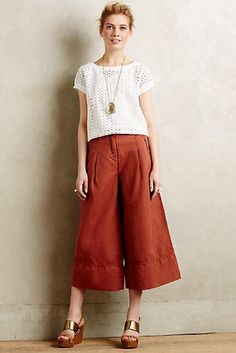 ANTHROPOLOGIE SZ 6 NEW $128 Cropped Bell Wide-Legs Cartonnier Wine Womens Pants #AnthropologieCartonnier #CaprisCropped