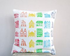 Rainbow pillow with houses