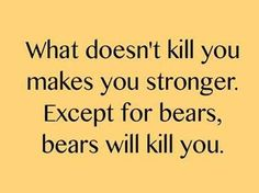 What doesn't kill you makes you stronger. Except for bears. Bears will kill you. #humor