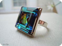 Blue Ring Square Swarovski Crystal Sterling Silver by LeelaBijou