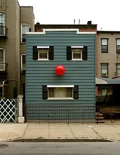 Red Nosed House Street Art by Dan Witz