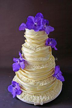 Wedding Cake - White Chocolate Wrap & Fresh Orchids by Scrumptious Cakes (Paula-Jane), via Flickr