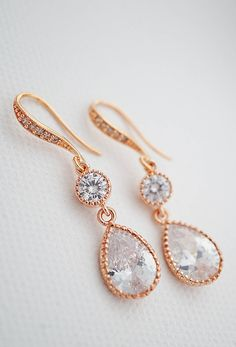 Elegant rose gold cubic zirconia bridal earrings from EarringsNation Rose gold wedding blush wedding