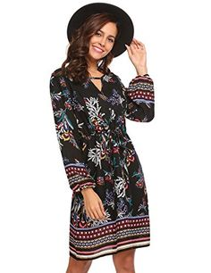 c2f2ae8c03 Maternity Styles - baggy maternity dresses   pasttry Womens Bohemian Beach  Ethnic Printed Keyhole Front Casual Long Sleeve Tunic or Dress Black Medium  -- Go ...