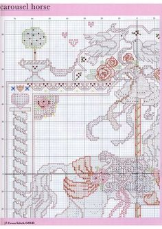 Carousel Horses In Cross Stitch By Donna Kooler and Linda Gillum Wedding Carousel Horse Part 3 of 6