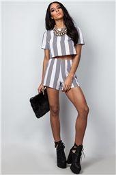 Ava White & Black Striped Shorts