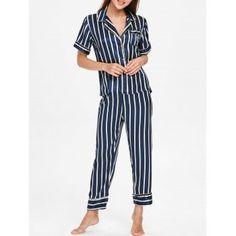 bf679912b02f Striped Printed Sleepwear Suit  Pajamas  Fashion  Lingerie  Women  Cadetblue