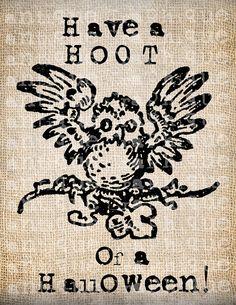 Antique Halloween Owl Hoot Quote