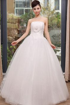 Tulle Strapless Luxury Bridal Gowns - Order Link: http://www.theweddingdresses.com/tulle-strapless-luxury-bridal-gowns-twdn0348.html - Embellishments: Beading , Crystal , Ruffles , Sequin; Length: Floor Length; Fabric: Tulle; Waist: Natural - Price: 154.48USD