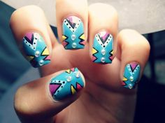 geometric colorful #nails