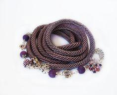 Violet Lariat Crochet bead rope Stylish Showy от MonistoJewelry