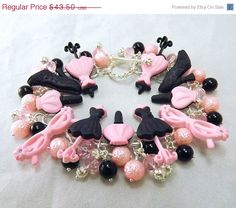 MOVING SALE Pink and black button and beaded charm bracelet and post earrings, All Dolled Up, TPMB. $39.15, via Etsy.
