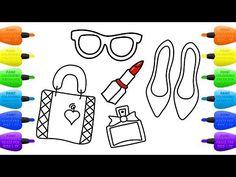 How to Draw Set of Female Accessories  Shoes, Handbag, Perfume, Lipstick - Vidinterest