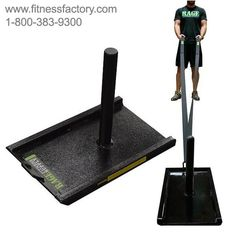Rage Fitness R1 Pull Sled - RCF-SL002  Use this to increase your strength and endurance. Our basic sled allows you to add and take off weight with ease. Push against the handles, or strap the included harness onto the other end and use it as a heavy pull sled. The feet are all angled up so they slide smoothly along terrain