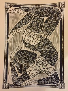 Lacey Law ~ Contortionist ~ Woodcut, Printed by hand by book press and hand burnishing.