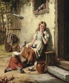 feeding the pigeons  jan waltraven Dutch 1827-1863