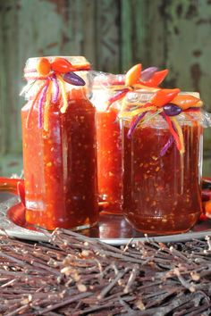 Capsicum tomato and chilli jam