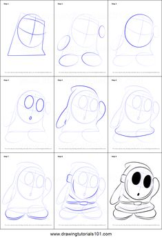 How to Draw Shy Guy from Super Mario step by step printable drawing sheet to print. Learn How to Draw Shy Guy from Super Mario Game Character Design, Character Design Animation, Character Drawing, Disney Drawing Tutorial, Animation Tutorial, Disney Drawings, Cartoon Drawings, Easy Drawings, Drawing Sheet