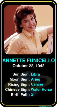 Celeb #Libra birthdays: Annette Funicello's astrology info! Sign up here to see more:  www.astroconnects.com  #astrology #horoscope #zodiac #birthchart #natalchart #annettefunicello