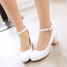 Womens Round Toe  Shoes Pump Mid Heel Chunky Buckle Lolita Tassel Mary Jane