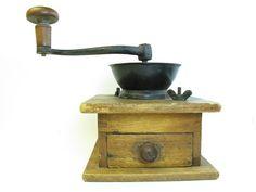 Vintage Wooden Coffee Grinder by GreyTreeFrog on Etsy