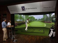 Golf simulators have come a long way from the Dave & Buster days of golf… Indoor Golf Simulator, Junior Golf Clubs, Golf Room, Golf Cart Parts, Golf Apps, Golf Pride Grips, Golf Putting Tips, Golf Simulators, Public Golf Courses