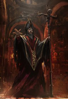 Undead Priest by Bogdan-MRK wizard warlock sorcerer necromancer cultist robes armor clothes clothing fashion player character npc | Create your own roleplaying game material w/ RPG Bard: www.rpgbard.com | Writing inspiration for Dungeons and Dragons DND D&D Pathfinder PFRPG Warhammer 40k Star Wars Shadowrun Call of Cthulhu Lord of the Rings LoTR + d20 fantasy science fiction scifi horror design | Not Trusty Sword art: click artwork for source