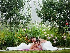 Gorgeous same-sex wedding in the garden. Jade Turgel Photography.