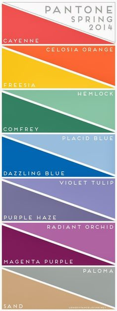 Pantone Spring 2014 Colors  - Not really my kind of colors. I find them slightly too pale. #newyearstylechallenge