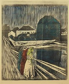 Artwork by Edvard Munch, Mädchen auf der Brücke (The Girls on the Bridge), Made of woodcut in black with hand-coloring in red, yellow, blue and teal green on tan textured paper