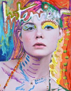 Elle fanning may 2014 interview cover photographed by Craig Mcdean painted by Sara Rainoldi