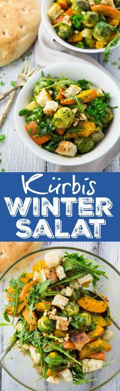 Superleckerer veganer Wintersalat mit Kürbis, Rosenkohl, Rucola und selbstgemachten Fladenbrot Croûtons. Die perfekte Nährstoffbombe für kalte Wintertage!