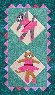 Dancing Kittens Paper-Pieced Quilt Pattern at Paper Panache