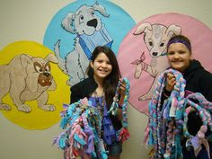 Braided Dog Chew Toys to be donated at the shelter...can use fleece, old t-shirts, or worn out sweatpants as a material source!