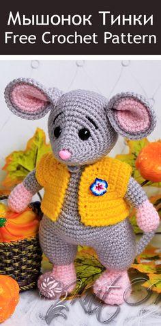 – Amigurumi World Amigurumi Doll Pattern, Crochet Dolls Free Patterns, Doll Patterns, Crochet Mouse, Crochet Yarn, Free Crochet, Stuffed Animal Patterns, Crochet Animals, Yarn Crafts