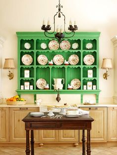 green kitchen hutch. Love everything about this room!