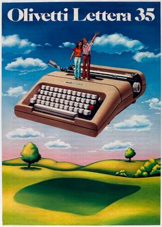 Vintage Olivetti advertisement poster for Olivetti Lettera 35 typewriter Vintage Italian Posters, Vintage Advertising Posters, Old Advertisements, Vintage Ads, Retro Poster, Retro Ads, Poster S, Vintage Italy, Vintage Posters
