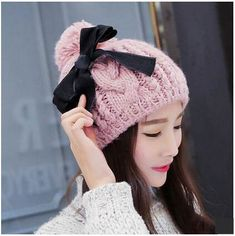 Winter warm cable knit hat for women bow stocking cap