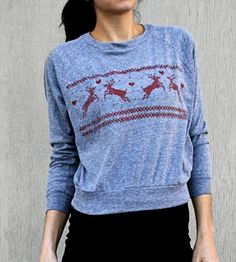 Reindeer Raglan Sleeve Tee by Rukus on Scoutmob Shoppe. Why we dig this grey and red top: It's not quite an ugly Christmas sweater.