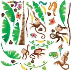 RoomMates Repositionable Childrens Wall Stickers Monkey Business: Amazon.co.uk: Kitchen & Home