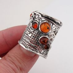 Hadar Jewelry Handcrafted Sterling Silver Amber Ring size 7.5 (H 144). $67.00, via Etsy.