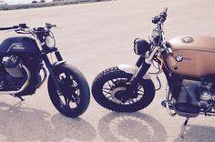 Moto Guzzi v7 vs BMW r100 artist Michelangelo Grifa