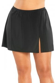 Fit 4U Side Slit Plus Size Swim Skirt-604102-black