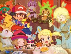Beautiful ♡ Ash and Pikachu with their Kalos friends ^_^ ^.^ ♡ I give good credit to whoever made this
