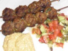 Israeli kabobs and cucumber/tomato salad