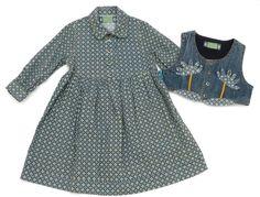 2-tlg. Kombination für Mädchen: Kleid, Jeansweste, Größe: 86, deutsche Mode, Anlässe: Frühling, Herbst, Winter